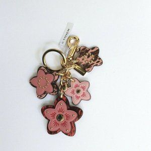 Coach Pink Gold Floral Leather Studded Key Ring